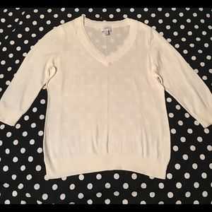 Ann Taylor loft Cream 100 % Cotton Sweater